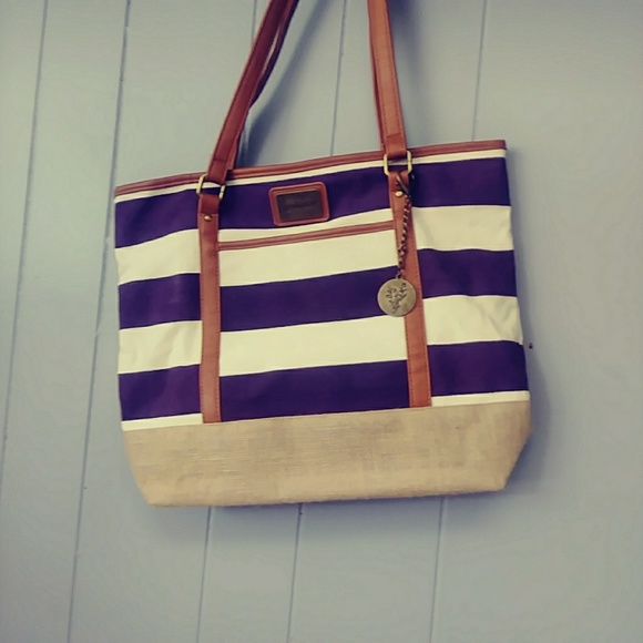 Younique Handbags - YOUNIQUE TOTE, PLUM AND BIEGE NEW WITHOUT TAGS